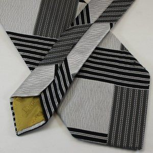 Vtg 80s Christian Dior Wide Tie Black & Gray Plaid